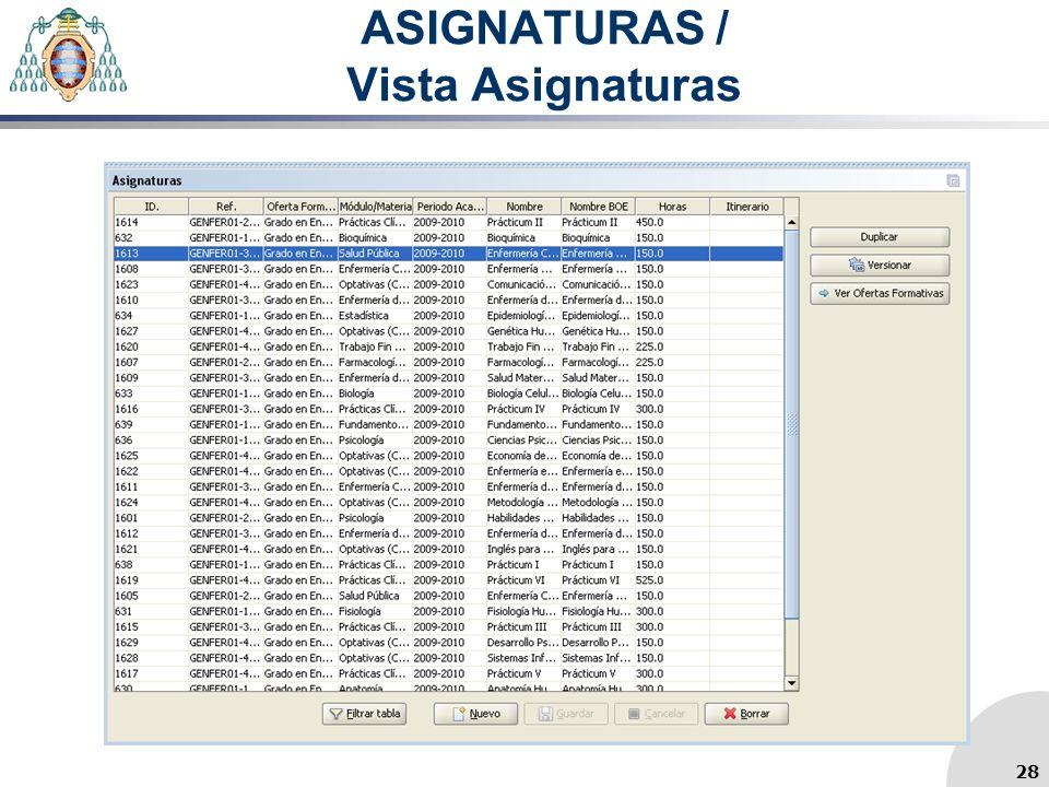 ASIGNATURAS / Vista Asignaturas 28
