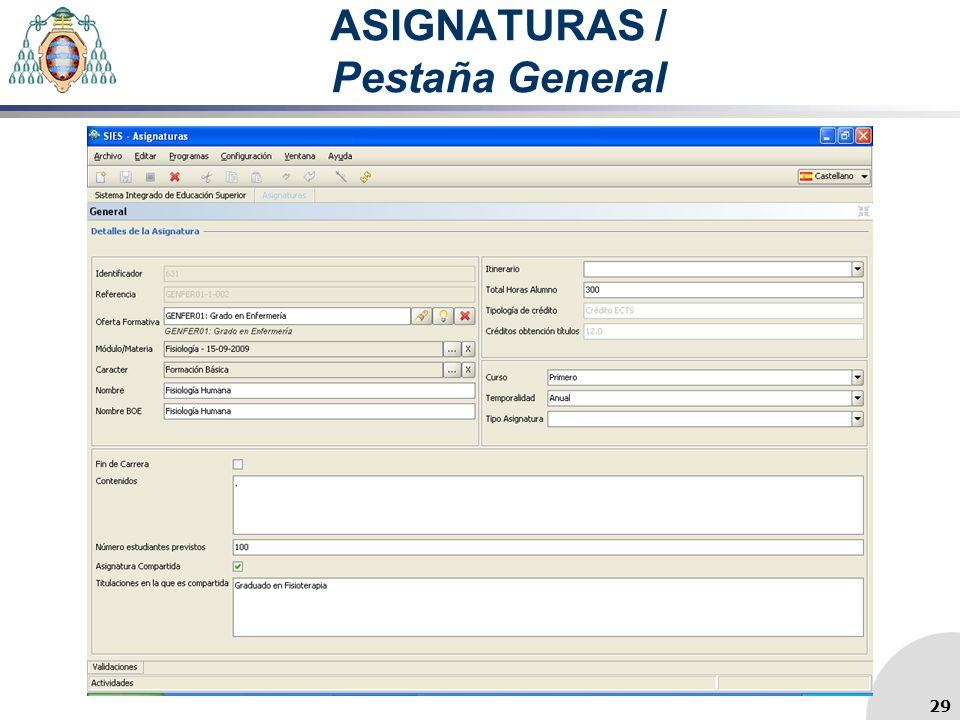 ASIGNATURAS / Pestaña General 29