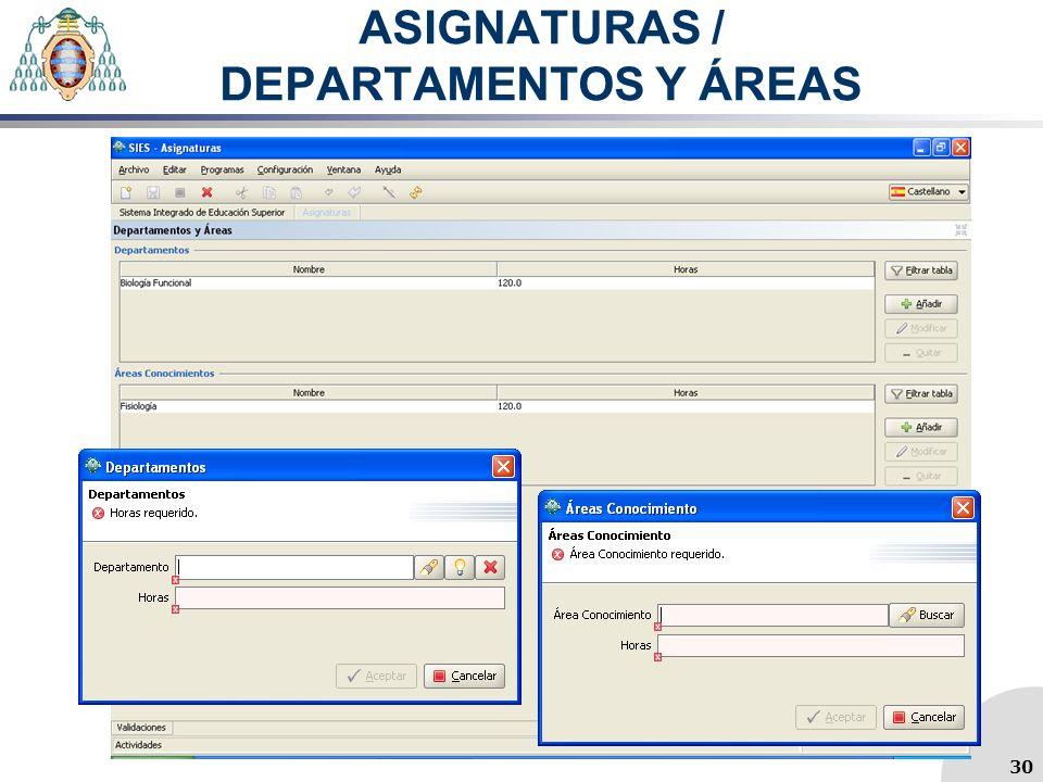 ASIGNATURAS / DEPARTAMENTOS Y ÁREAS 30