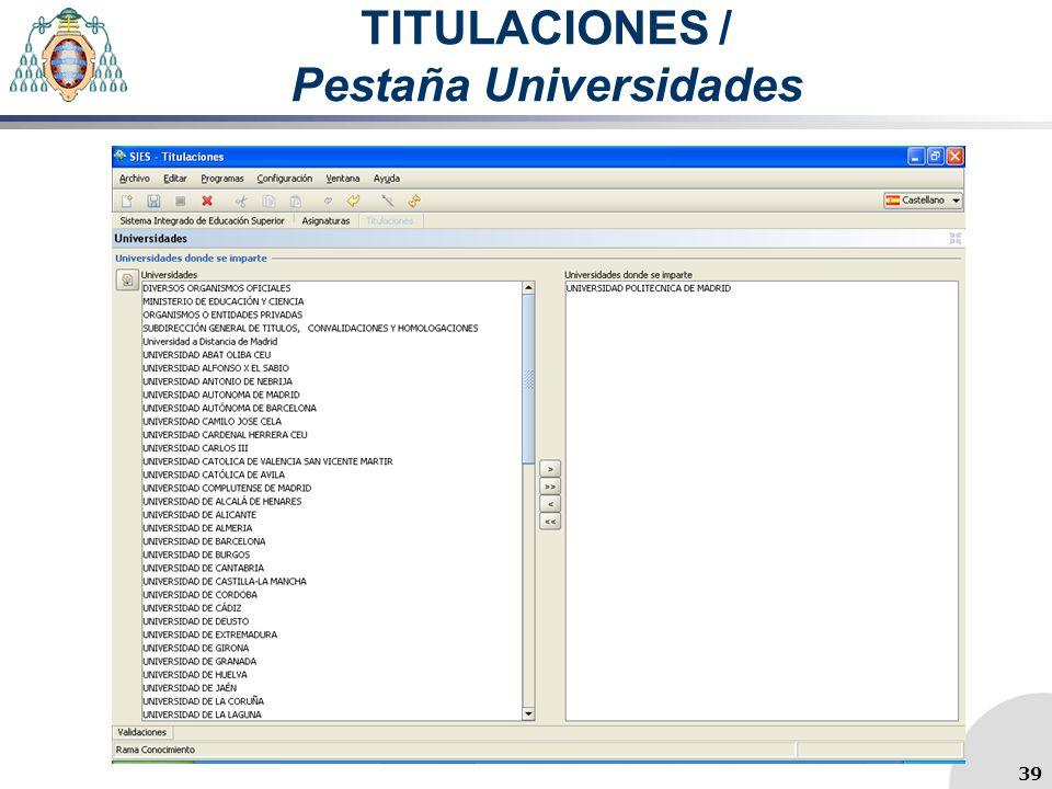 TITULACIONES / Pestaña Universidades 39