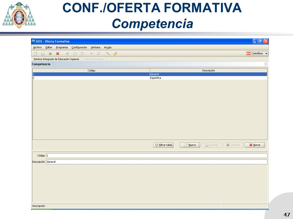 CONF./OFERTA FORMATIVA Competencia 47
