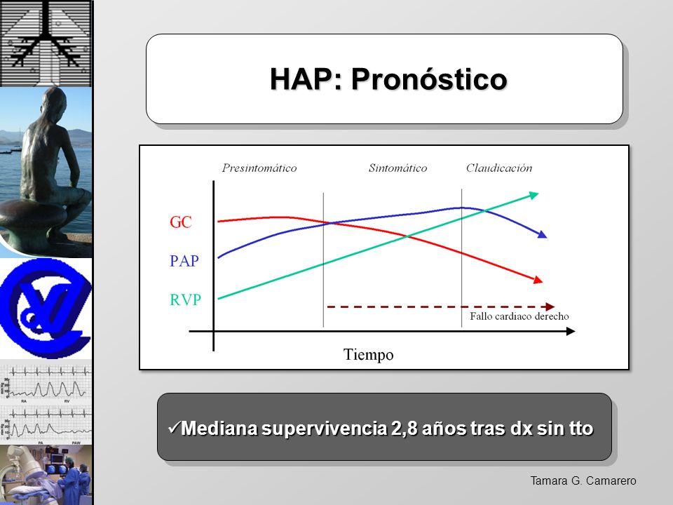 Tamara G. Camarero HAP: Pronóstico HAP: Pronóstico Mediana supervivencia 2,8 años tras dx sin tto Mediana supervivencia 2,8 años tras dx sin tto