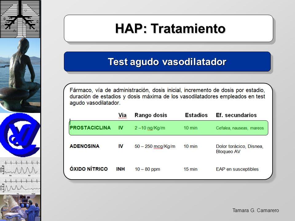 Tamara G. Camarero HAP: Tratamiento HAP: Tratamiento Test agudo vasodilatador