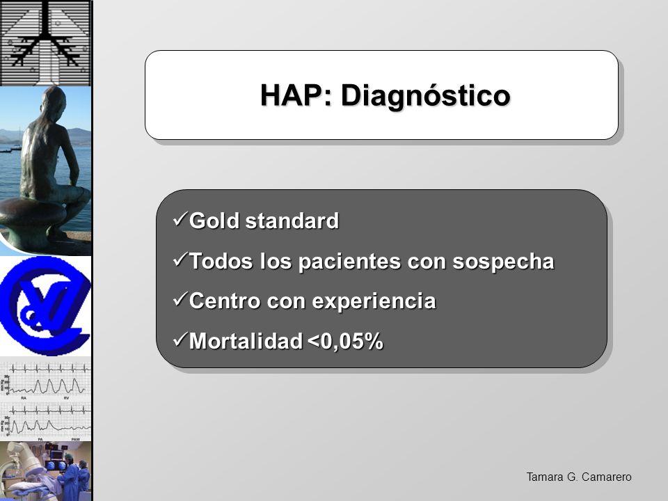 Tamara G. Camarero HAP: Diagnóstico HAP: Diagnóstico Gold standard Gold standard Todos los pacientes con sospecha Todos los pacientes con sospecha Cen