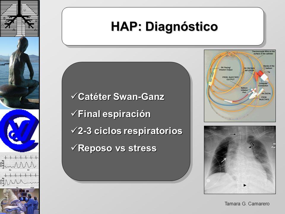Tamara G. Camarero HAP: Diagnóstico HAP: Diagnóstico Catéter Swan-Ganz Catéter Swan-Ganz Final espiración Final espiración 2-3 ciclos respiratorios 2-