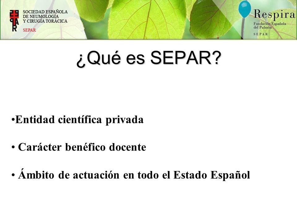 ¿Qué es SEPAR? Entidad científica privada Carácter benéfico docente Ámbito de actuación en todo el Estado Español