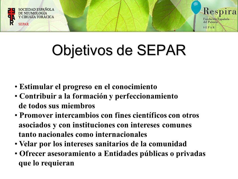 Objetivos de SEPAR Estimular el progreso en el conocimiento Contribuir a la formación y perfeccionamiento de todos sus miembros Promover intercambios