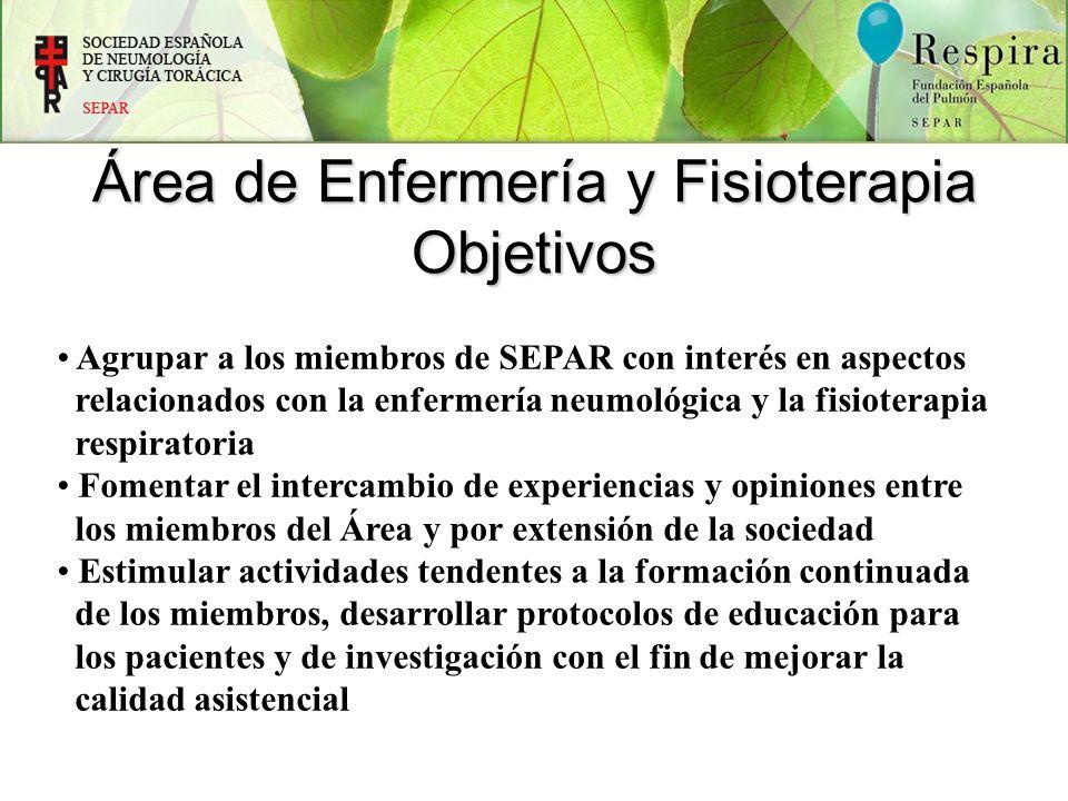 Área de Enfermería y Fisioterapia Objetivos Agrupar a los miembros de SEPAR con interés en aspectos relacionados con la enfermería neumológica y la fi
