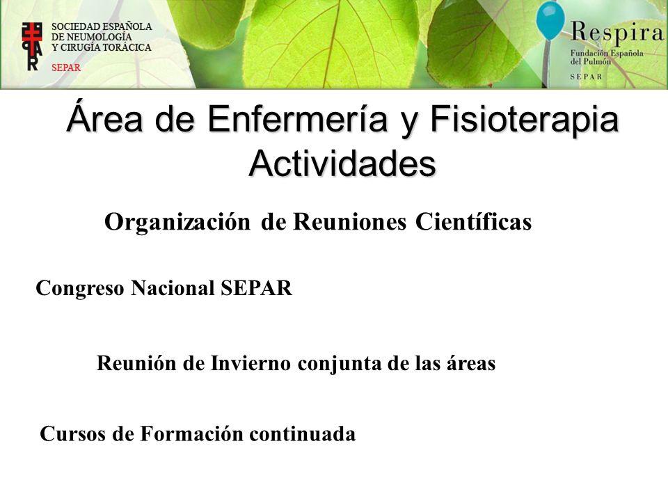 Congreso Nacional SEPAR Reunión de Invierno conjunta de las áreas Organización de Reuniones Científicas Cursos de Formación continuada Área de Enferme