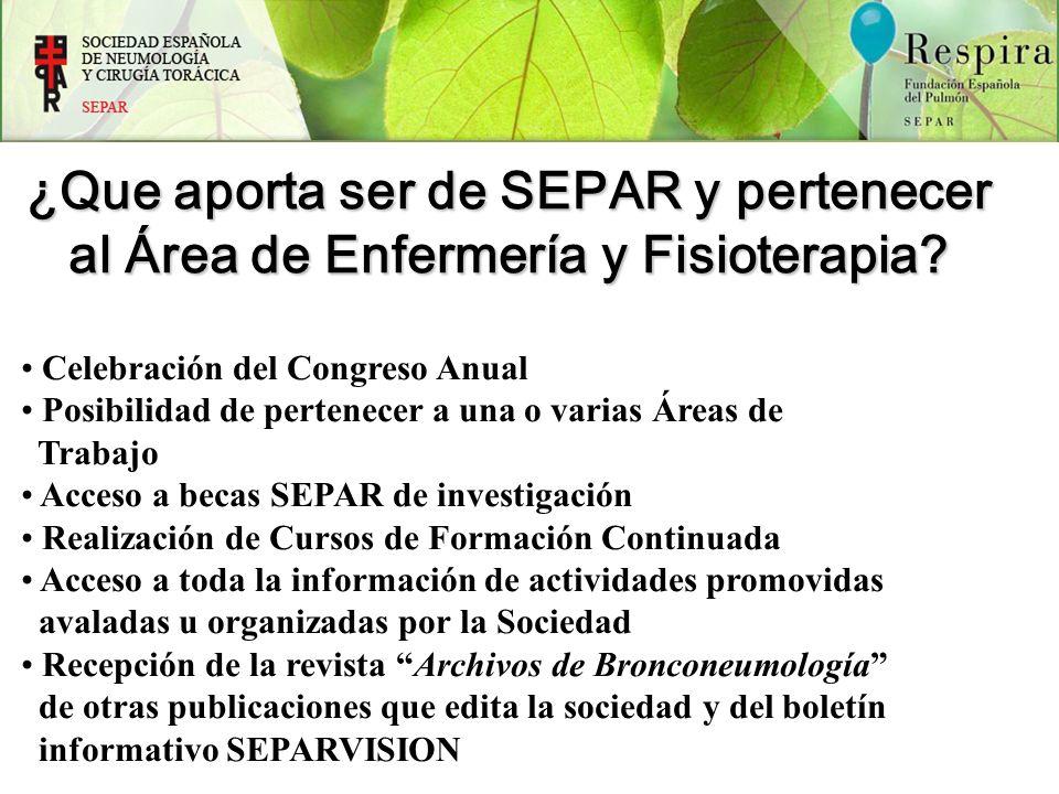 ¿Que aporta ser de SEPAR y pertenecer al Área de Enfermería y Fisioterapia? Celebración del Congreso Anual Posibilidad de pertenecer a una o varias Ár