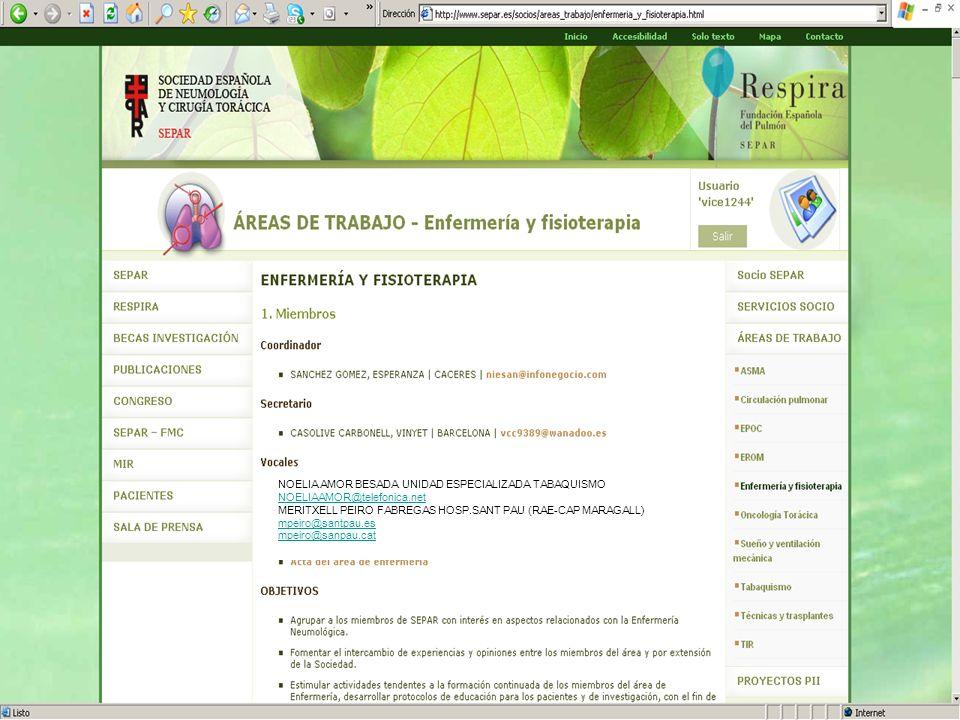 NOELIA AMOR BESADA UNIDAD ESPECIALIZADA TABAQUISMO NOELIAAMOR@telefonica.net MERITXELL PEIRO FABREGAS HOSP.SANT PAU (RAE-CAP MARAGALL) mpeiro@santpau.