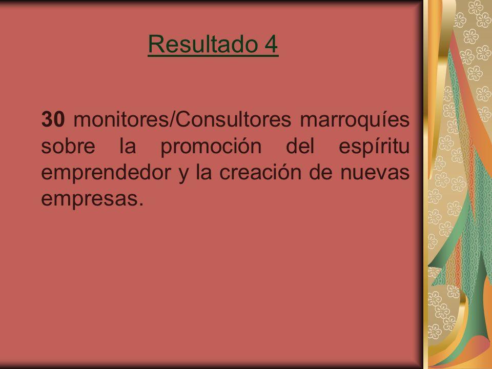 Resultado 4 30 monitores/Consultores marroquíes sobre la promoción del espíritu emprendedor y la creación de nuevas empresas.