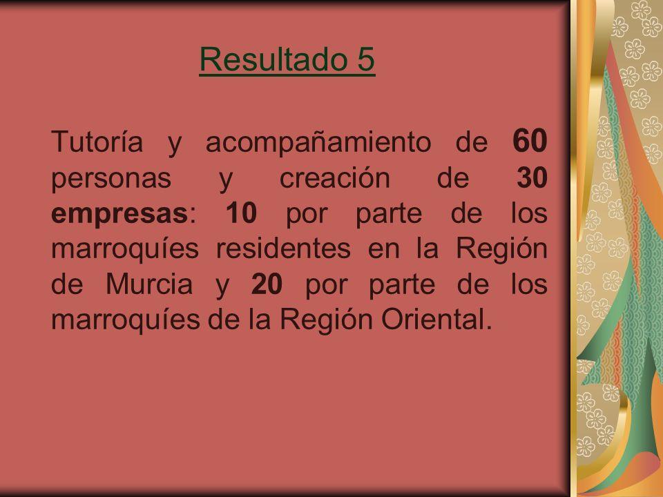 Resultado 5 Tutoría y acompañamiento de 60 personas y creación de 30 empresas: 10 por parte de los marroquíes residentes en la Región de Murcia y 20 por parte de los marroquíes de la Región Oriental.
