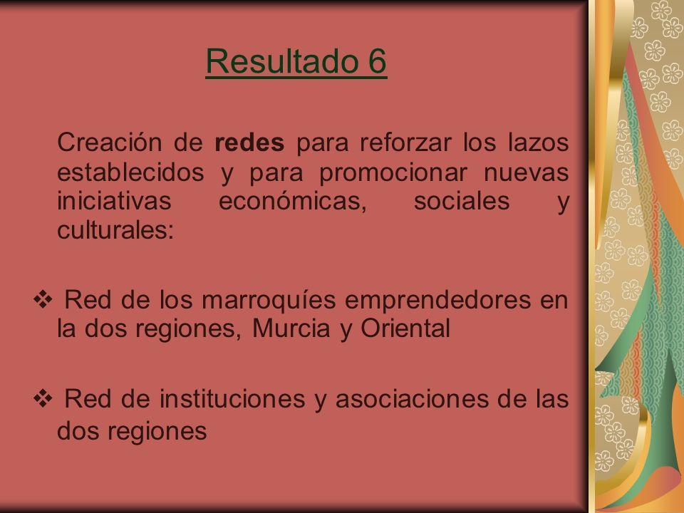 Resultado 6 Creación de redes para reforzar los lazos establecidos y para promocionar nuevas iniciativas económicas, sociales y culturales: Red de los marroquíes emprendedores en la dos regiones, Murcia y Oriental Red de instituciones y asociaciones de las dos regiones