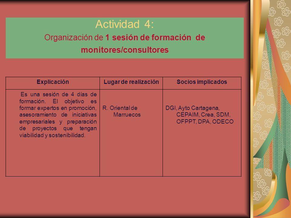 Actividad 4: Organización de 1 sesión de formación de monitores/consultores ExplicaciónLugar de realizaciónSocios implicados Es una sesión de 4 días de formación.