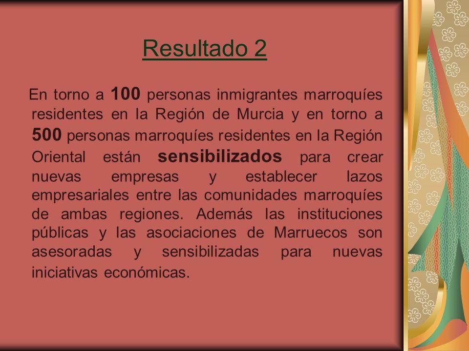 Resultado 2 En torno a 100 personas inmigrantes marroquíes residentes en la Región de Murcia y en torno a 500 personas marroquíes residentes en la Región Oriental están sensibilizados para crear nuevas empresas y establecer lazos empresariales entre las comunidades marroquíes de ambas regiones.