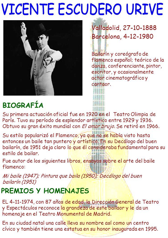 Valladolid, 27-10-1888 Barcelona, 4-12-1980 Bailarín y coreógrafo de flamenco español; teórico de la danza, conferenciante, pintor, escritor, y ocasio