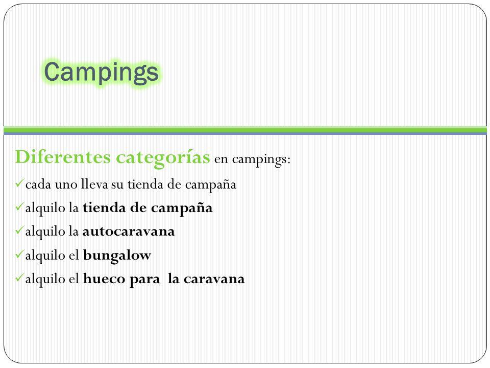 Diferentes categorías en campings: cada uno lleva su tienda de campaña alquilo la tienda de campaña alquilo la autocaravana alquilo el bungalow alquilo el hueco para la caravana
