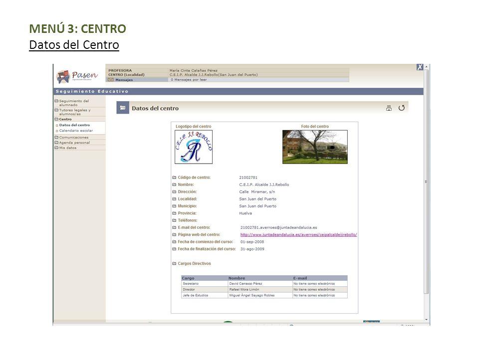 MENÚ 3: CENTRO Datos del Centro