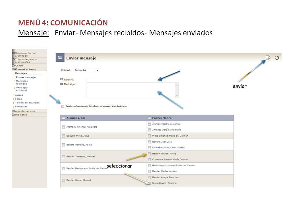 MENÚ 4: COMUNICACIÓN Mensaje: Enviar- Mensajes recibidos- Mensajes enviados