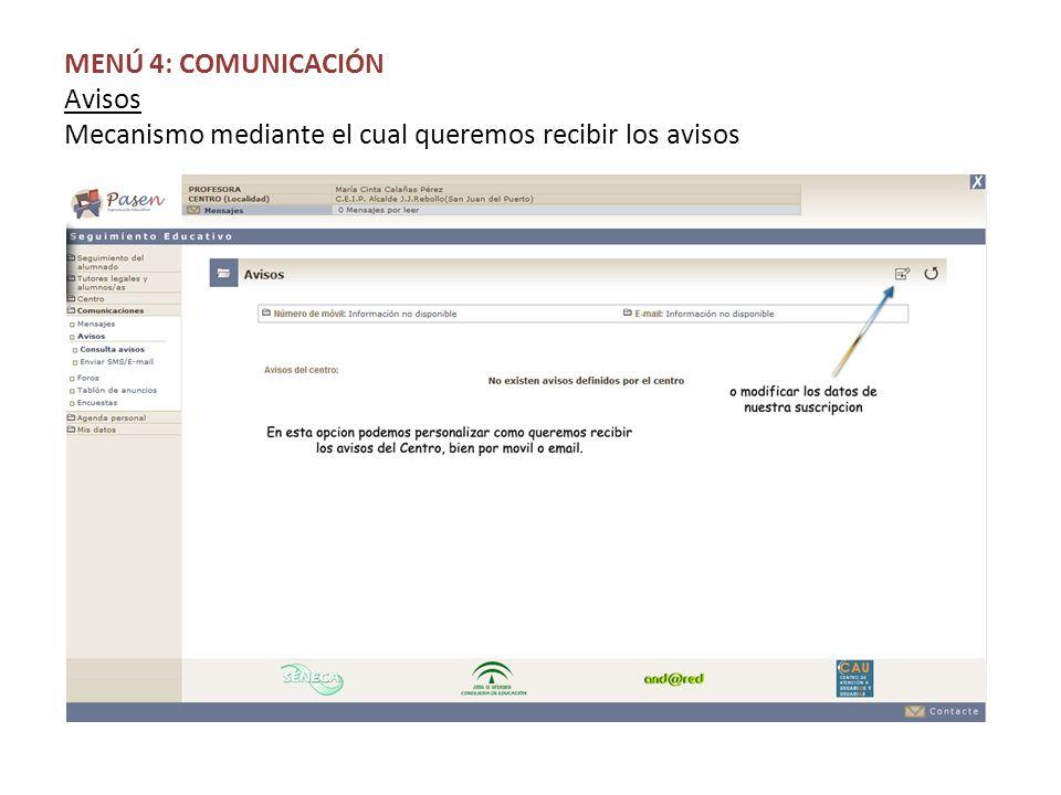 MENÚ 4: COMUNICACIÓN Avisos Mecanismo mediante el cual queremos recibir los avisos