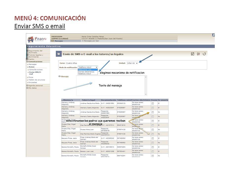 MENÚ 4: COMUNICACIÓN Enviar SMS o email
