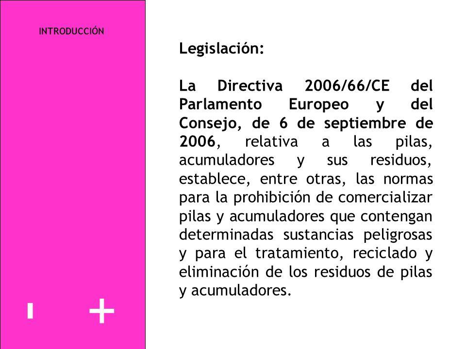 INTRODUCCIÓN Legislación: La Directiva 2006/66/CE del Parlamento Europeo y del Consejo, de 6 de septiembre de 2006, relativa a las pilas, acumuladores