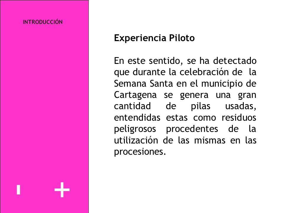 INTRODUCCIÓN Experiencia Piloto En este sentido, se ha detectado que durante la celebración de la Semana Santa en el municipio de Cartagena se genera
