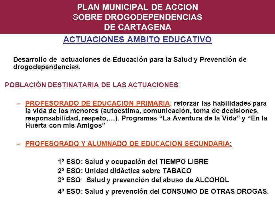 PLAN MUNICIPAL DE ACCION SOBRE DROGODEPENDENCIAS DE CARTAGENA ACTUACIONES AMBITO EDUCATIVO Desarrollo de actuaciones de Educación para la Salud y Prev