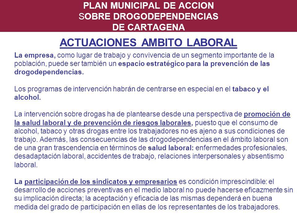 PLAN MUNICIPAL DE ACCION SOBRE DROGODEPENDENCIAS DE CARTAGENA ACTUACIONES AMBITO LABORAL La empresa, como lugar de trabajo y convivencia de un segment