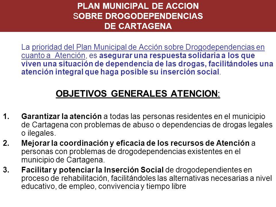 PLAN MUNICIPAL DE ACCION SOBRE DROGODEPENDENCIAS DE CARTAGENA La prioridad del Plan Municipal de Acción sobre Drogodependencias en cuanto a Atención,