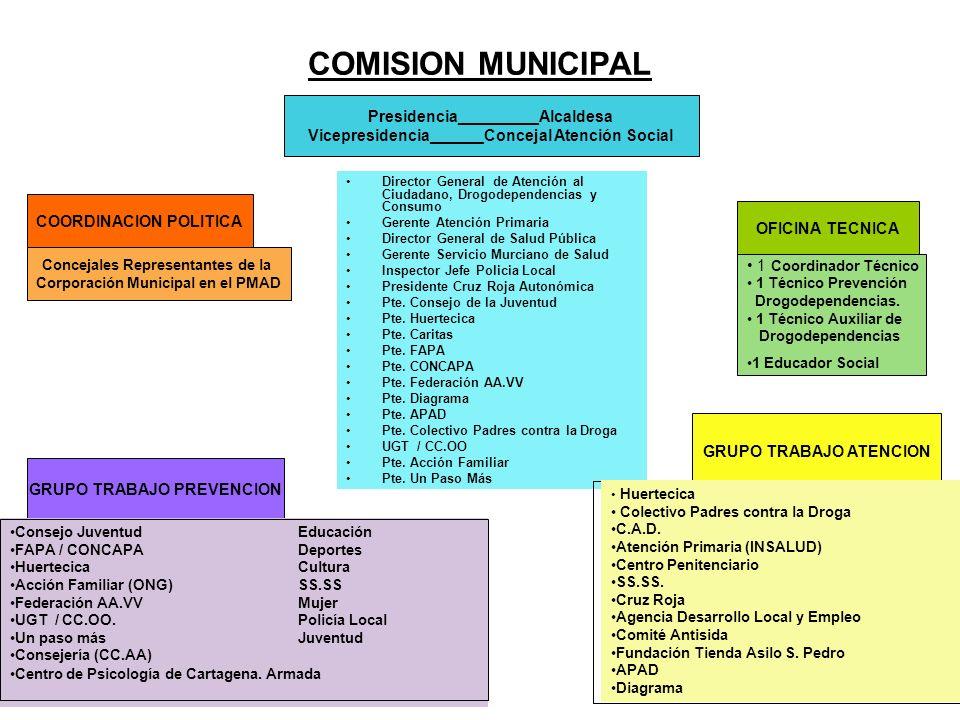 COMISION MUNICIPAL Director General de Atención al Ciudadano, Drogodependencias y Consumo Gerente Atención Primaria Director General de Salud Pública