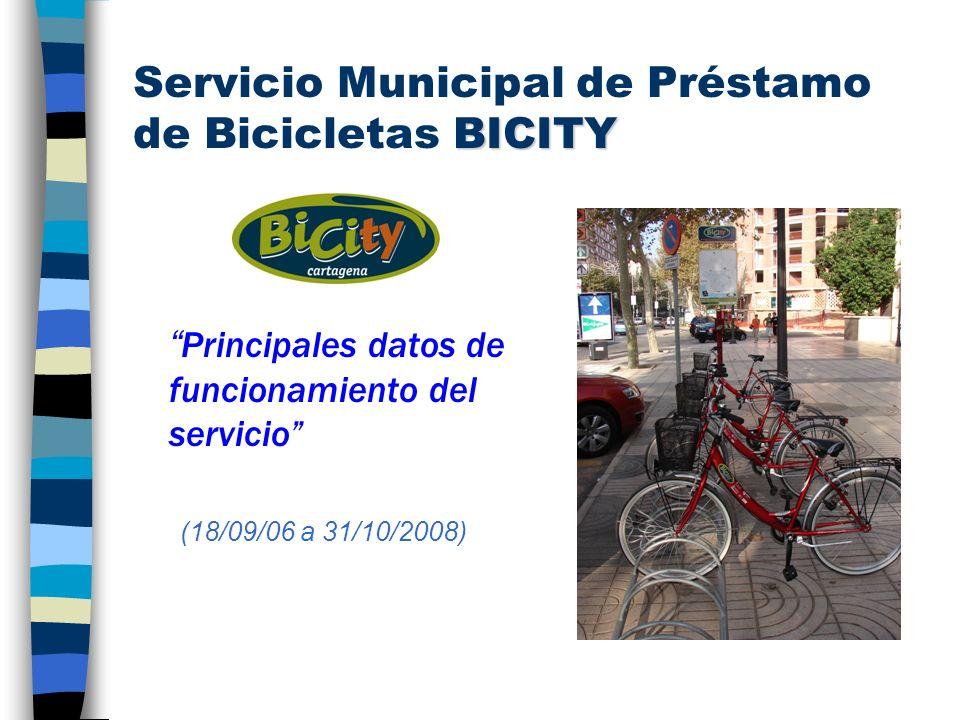 BICITY Servicio Municipal de Préstamo de Bicicletas BICITY Principales datos de funcionamiento del servicio (18/09/06 a 31/10/2008)