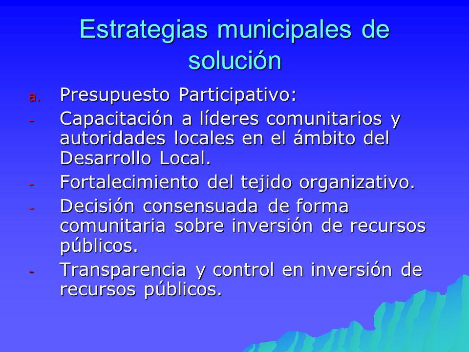 Estrategias municipales de solución a. Presupuesto Participativo: - Capacitación a líderes comunitarios y autoridades locales en el ámbito del Desarro