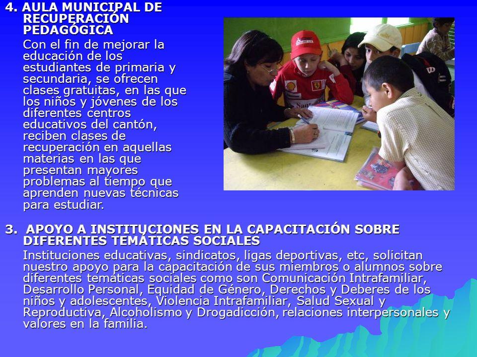 3. APOYO A INSTITUCIONES EN LA CAPACITACIÓN SOBRE DIFERENTES TEMÁTICAS SOCIALES Instituciones educativas, sindicatos, ligas deportivas, etc, solicitan