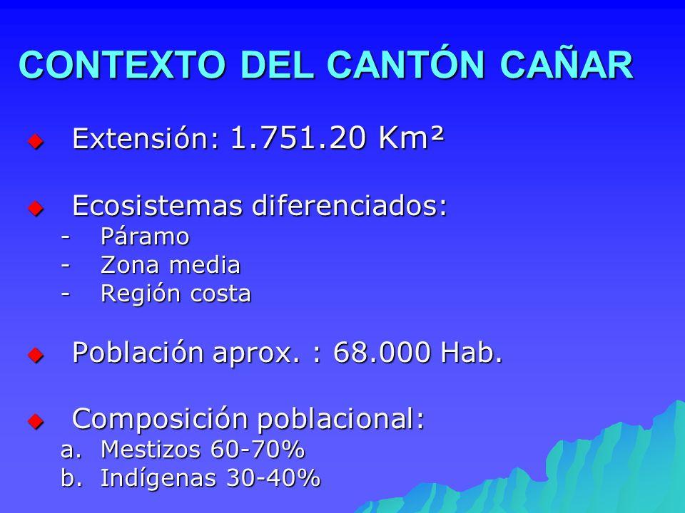 CONTEXTO DEL CANTÓN CAÑAR Extensión: 1.751.20 Km² Extensión: 1.751.20 Km² Ecosistemas diferenciados: Ecosistemas diferenciados: -Páramo -Zona media -R