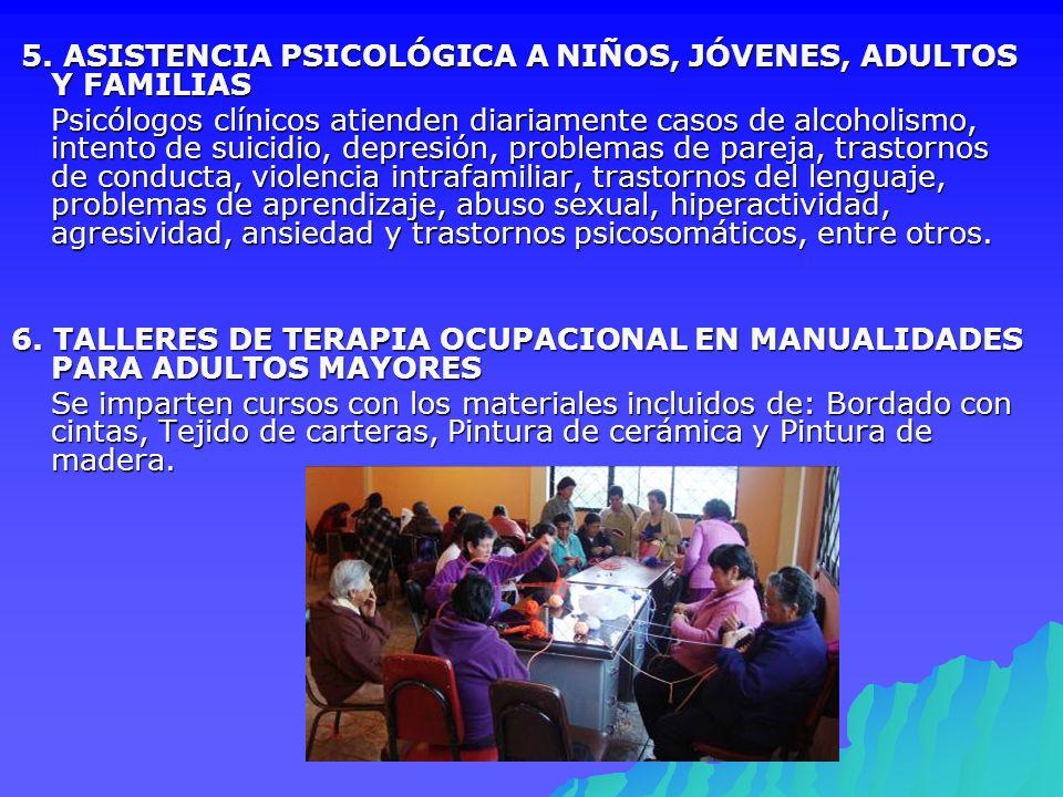 5. ASISTENCIA PSICOLÓGICA A NIÑOS, JÓVENES, ADULTOS Y FAMILIAS 5. ASISTENCIA PSICOLÓGICA A NIÑOS, JÓVENES, ADULTOS Y FAMILIAS Psicólogos clínicos atie