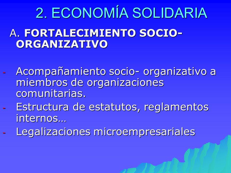2. ECONOMÍA SOLIDARIA A. FORTALECIMIENTO SOCIO- ORGANIZATIVO A. FORTALECIMIENTO SOCIO- ORGANIZATIVO - Acompañamiento socio- organizativo a miembros de