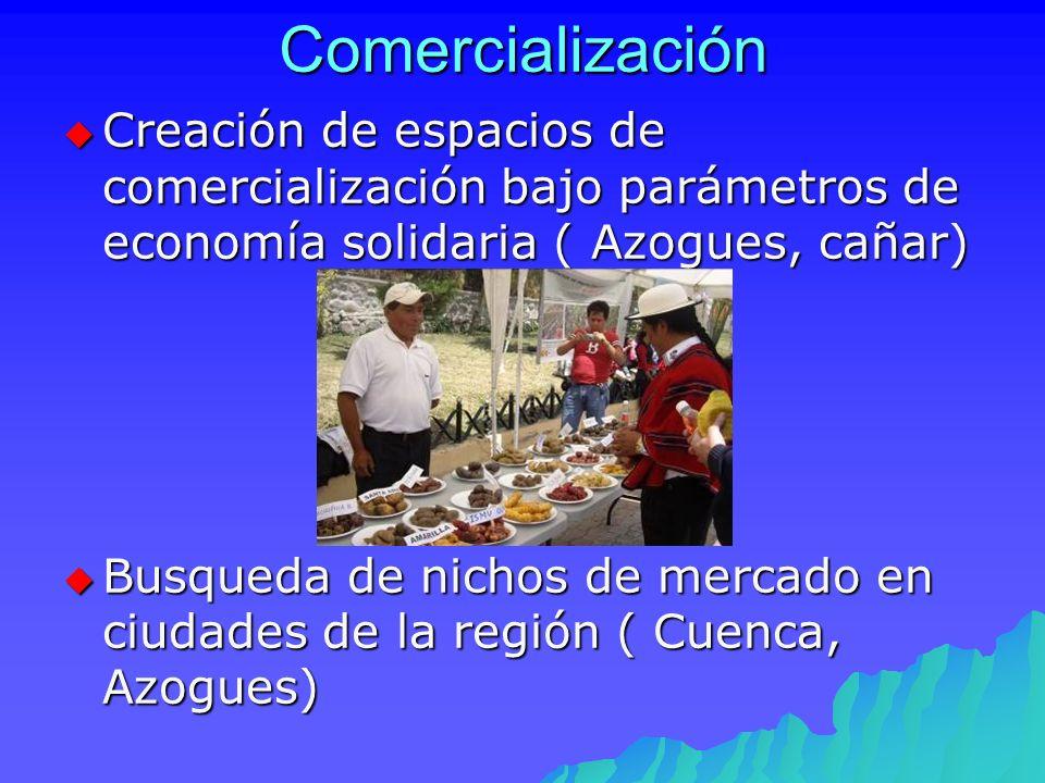 Comercialización Creación de espacios de comercialización bajo parámetros de economía solidaria ( Azogues, cañar) Creación de espacios de comercializa