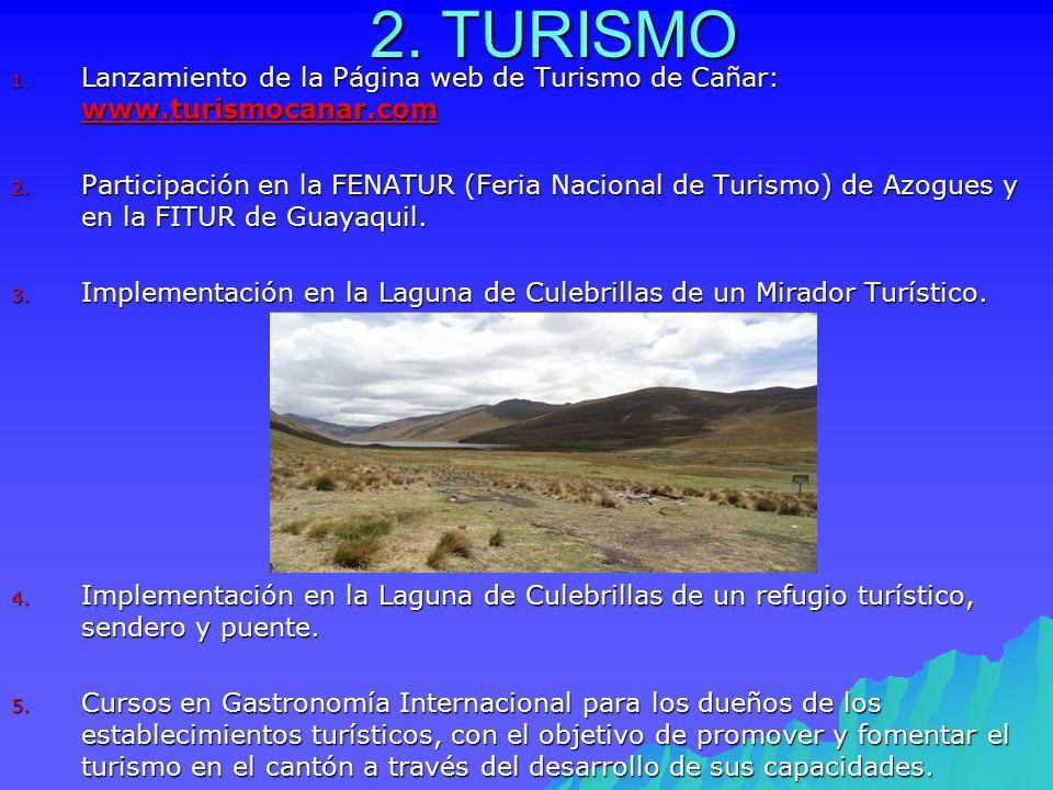 2. TURISMO 1. Lanzamiento de la Página web de Turismo de Cañar: www.turismocanar.com www.turismocanar.com 2. Participación en la FENATUR (Feria Nacion