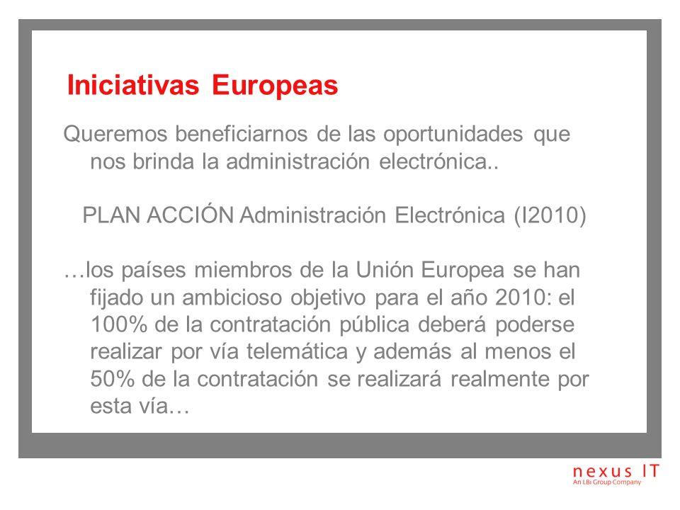 Directiva Comunitaria 2004/18/CE del Parlamento Europeo y del Consejo, 31 marzo 2004 Ley de Firma electrónica Ley de Acceso Electrónico de los Ciudadanos a los Servicios Públicos (LAECSP) en lo que afecta a la contratación Ley de Medidas de Impulso a la Sociedad de la Información: LMISI en contratación pública PLAN ACCIÓN Administración Electrónica (I2010) LEY de contratos del sector público (30/2007) / LEY sobre procedimientos de contratación en los sectores del agua, la energía, los transportes y los servicios postales (31/2007) Marco legislativo: Antecedentes