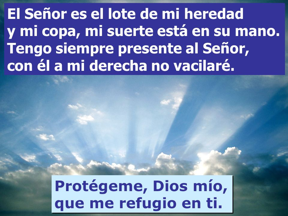 Protégeme, Dios mío, que me refugio en ti. Salmo 15