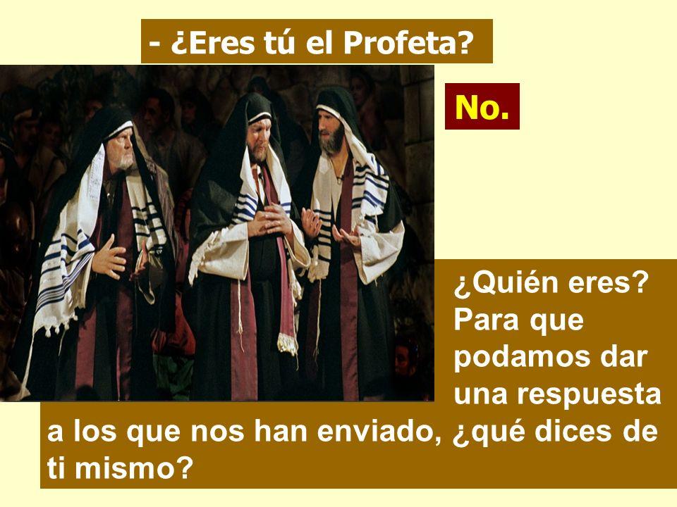 Los judíos enviaron desde Jerusalén sacerdotes y levitas a Juan, a que le preguntaran: - ¿Tú quién eres? Yo no soy el Mesías. - Entonces, ¿qué? ¿Eres