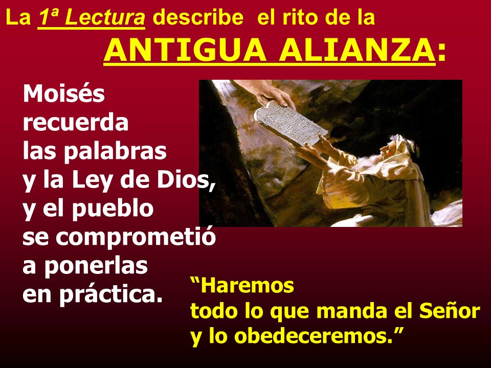 La 1ª Lectura describe el rito de la ANTIGUA ALIANZA: Moisés recuerda las palabras y la Ley de Dios, y el pueblo se comprometió a ponerlas en práctica.