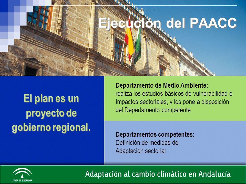 Ejecución del PAACC El plan es un proyecto de gobierno regional. Departamento de Medio Ambiente: realiza los estudios básicos de vulnerabilidad e Impa