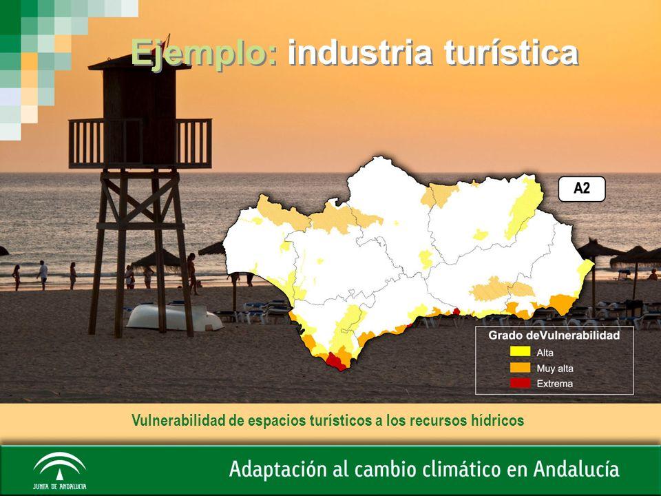 Ejemplo: industria turística Vulnerabilidad de espacios turísticos a los recursos hídricos