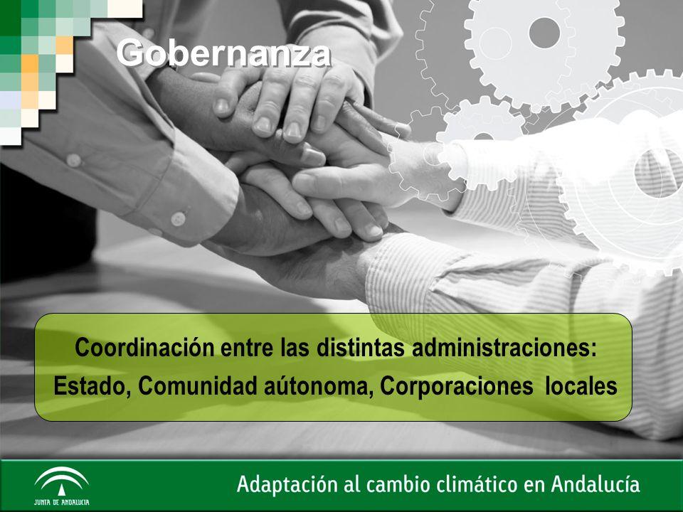 Gobernanza Coordinación entre las distintas administraciones: Estado, Comunidad aútonoma, Corporaciones locales
