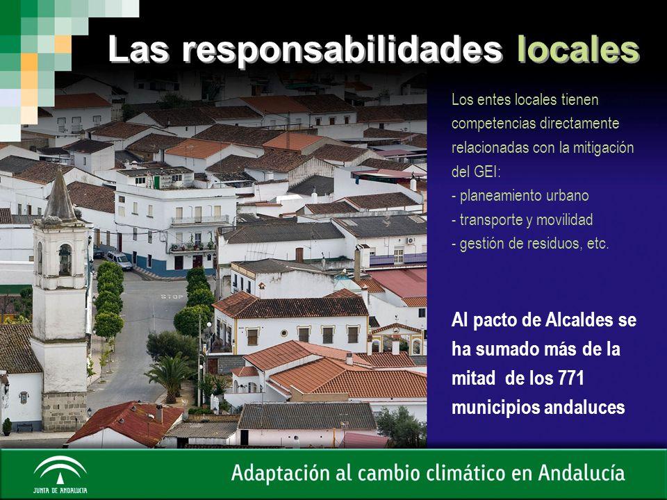 Las responsabilidades locales Los entes locales tienen competencias directamente relacionadas con la mitigación del GEI: - planeamiento urbano - trans