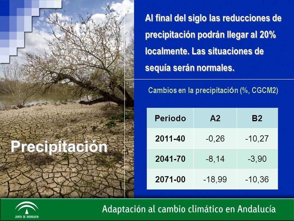 Precipitación Al final del siglo las reducciones de precipitación podrán llegar al 20% localmente. Las situaciones de sequía serán normales. PeriodoA2
