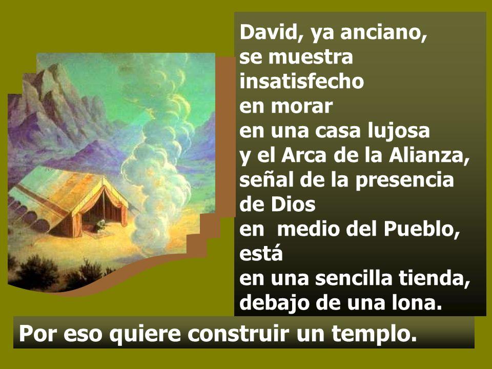 David, ya anciano, se muestra insatisfecho en morar en una casa lujosa y el Arca de la Alianza, señal de la presencia de Dios en medio del Pueblo, está en una sencilla tienda, debajo de una lona.